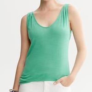 Banana Republic Green Pleated Open-Back Tank Sz M